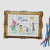 Pikkii framed drawing blank jigsaw puzzle with a childs drawing of a family