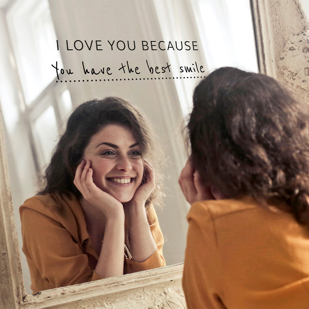 'I Love You Because' Mirror Sticker + Pen ♥
