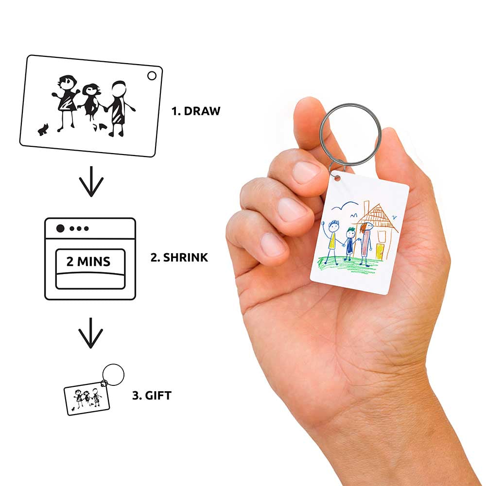 Kids Drawing Keyring packaging on white