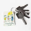 Piikkii Kids Drawing Shrink keyring Kit Child's drawing with personalised happy birthday message keyring on keys over white background
