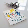 Close up of Piikkii Kids Drawing Shrink keyring with personalised Happy Birthday message attached to keys over white surfice
