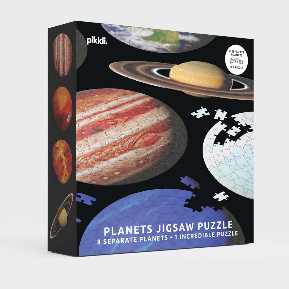 pikkii planets space solar system jigsaw puzzle gift box front over white background