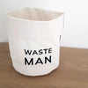 White bin with black Waste Man on Desk