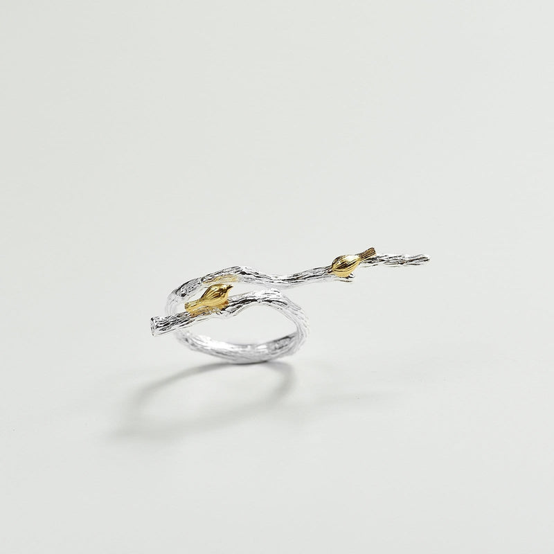 925 sterling silver adjustable bird ring