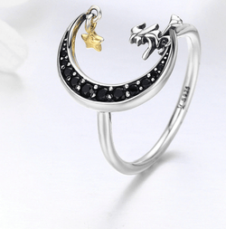Black Crescent Moon Magic Silver Witch Ring