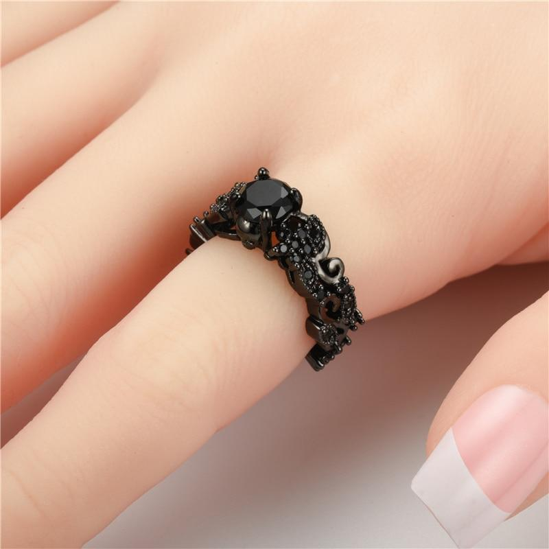 Black Skull Ring with Crystals