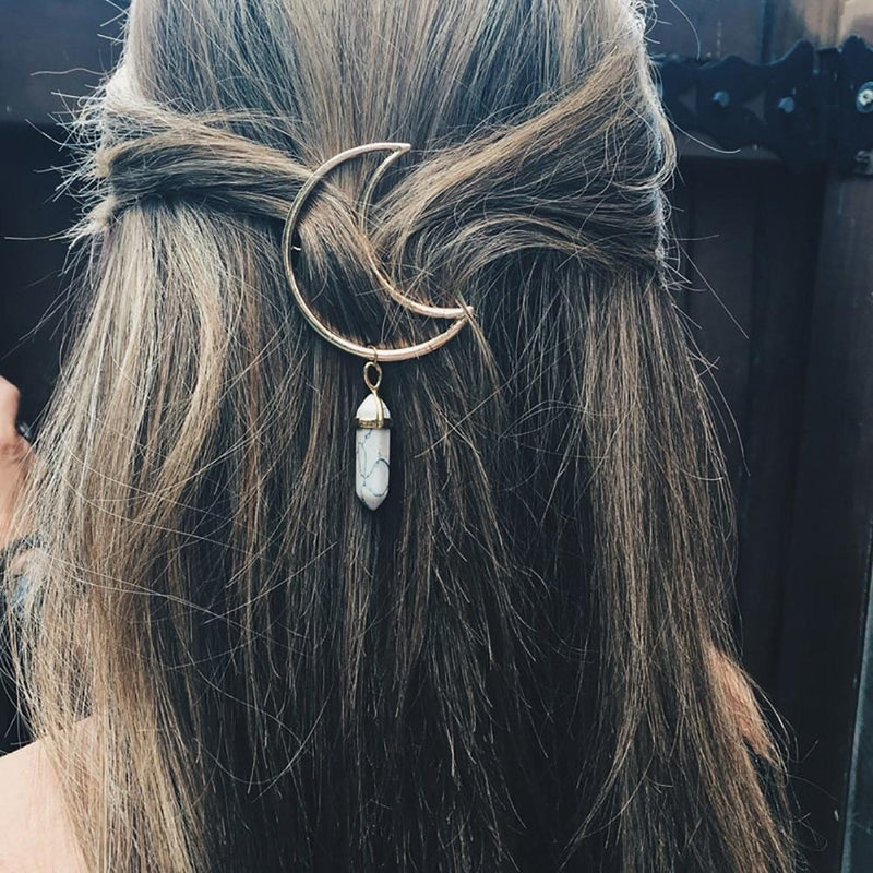 Moon Hair Clip With Stone Pendant