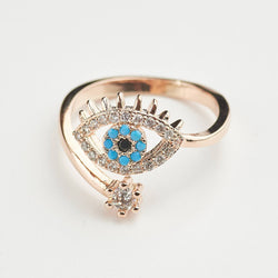 Evil Eye Rose Gold Adjustable Ring