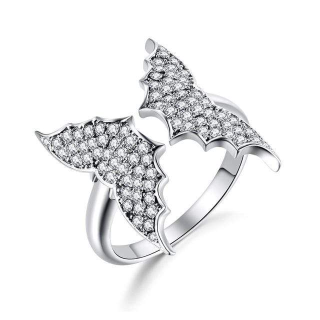Flying Bats Adjustable Crystal Ring