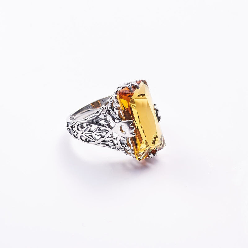 Gothic Silver Ring and Amber Stone