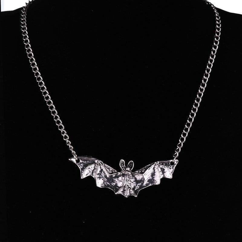 Gothic Necklace with Bat Pendant