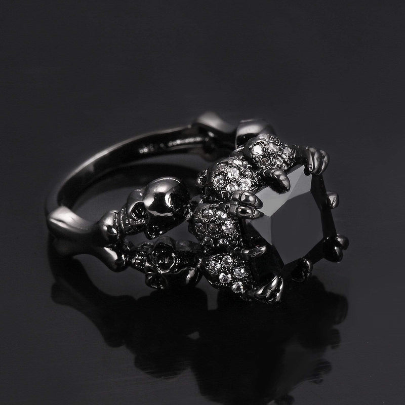 Gothic Skeleton Skull & Claws Ring