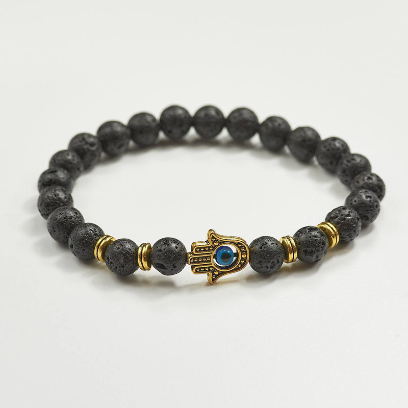 Hamsa Evil Eye Bracelet With Black Lava Stone