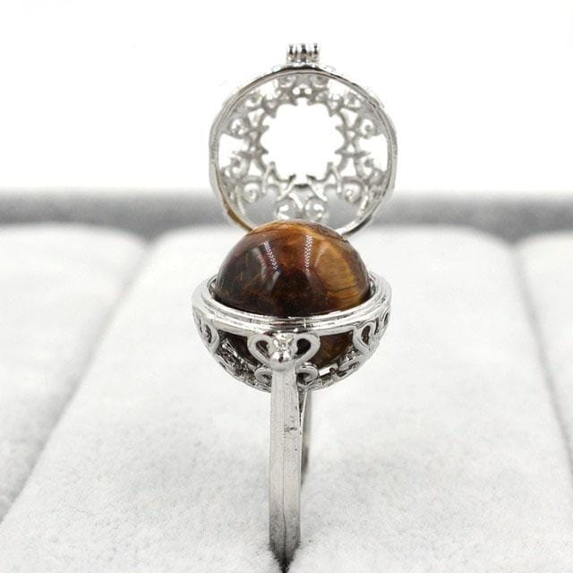 Healing Crystal Locket Tiger's Eye Ring