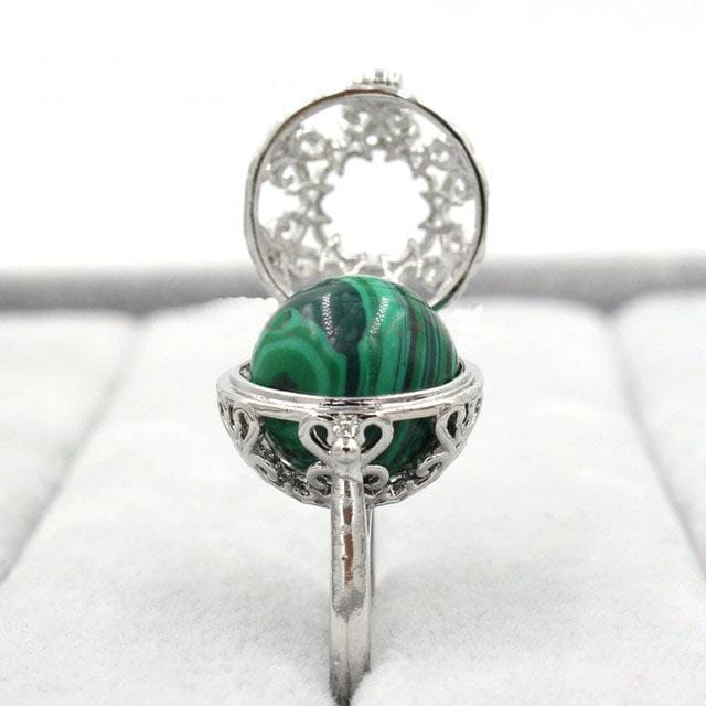 Healing Crystal Locket Malachite Ring