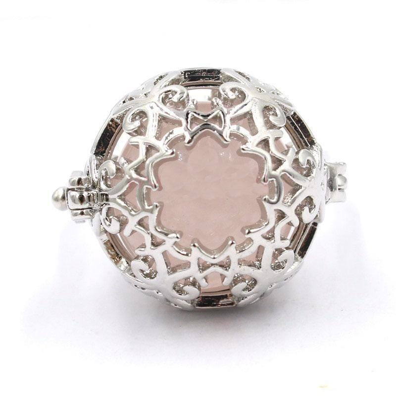 Healing Crystal Locket Rose Ring