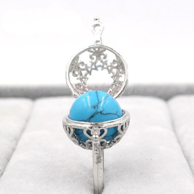 Healing Crystal Locket Blue Turquoise Ring