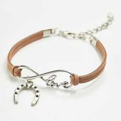 Horseshoe and Love Leather Bracelet