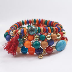 Multilayer Tassel and Bead Bracelet