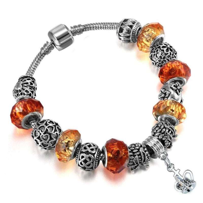 Orange Citrine Pandora Style Bracelet