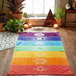 Rainbow Chakra Tapestry And Yoga Mat Towel