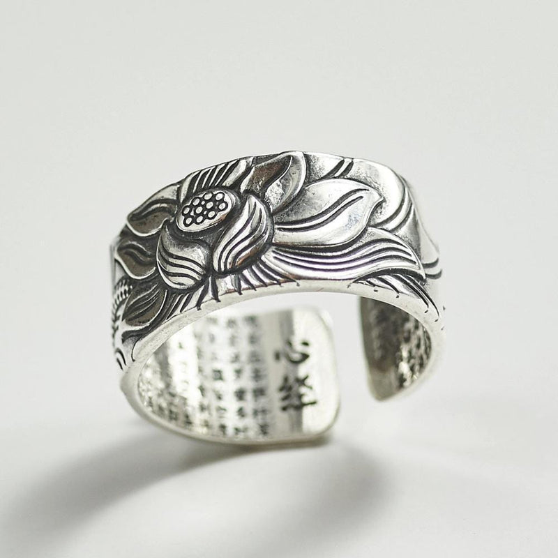 Silver Lotus Good Luck Ring