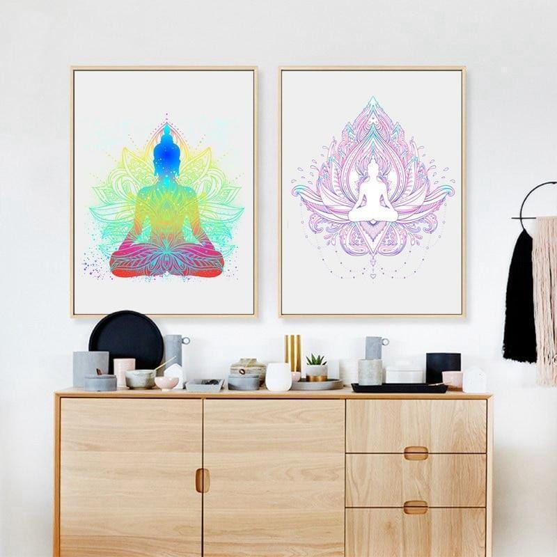 Sitting Buddha Painting With Flower
