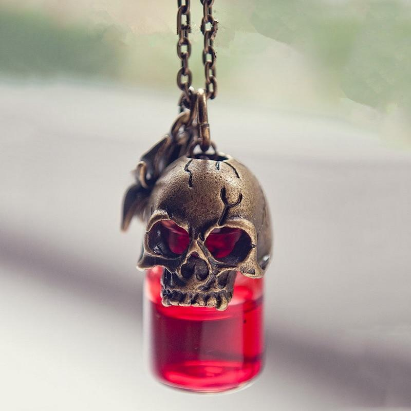 Spooky Red Blood Bottle Skull Necklace