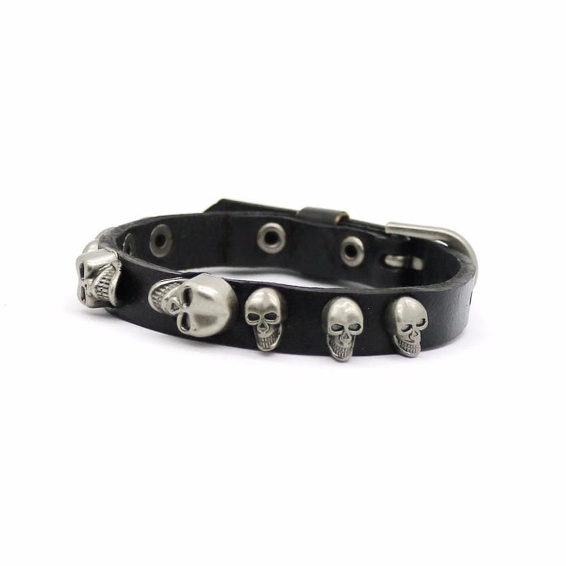 Spooky Skull Leather Bracelet