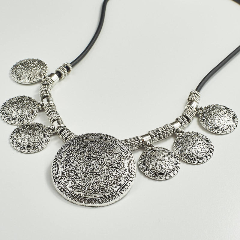 Tibetan Silver Moon Statement Necklace