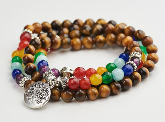 Tree Of Life Necklace With Mala Beads