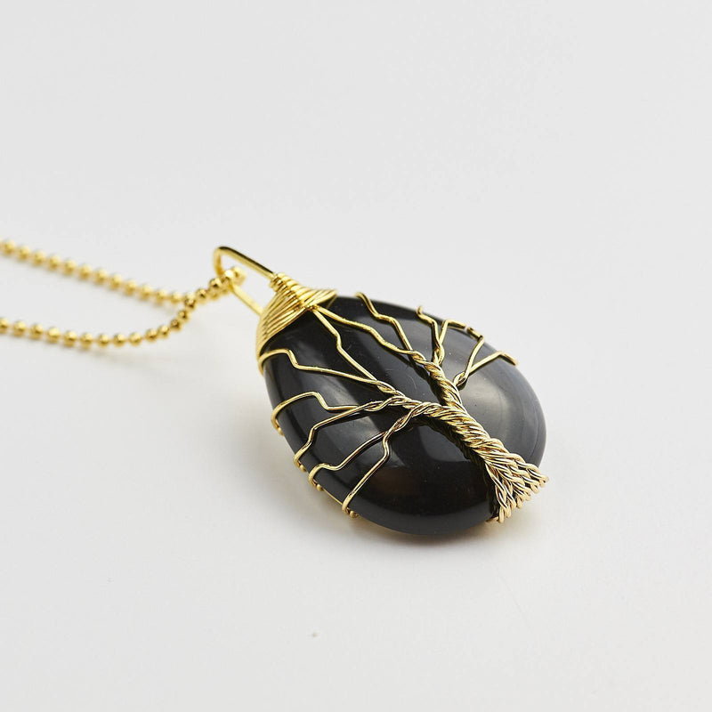 Tree Of Life Symbol Wire Wrapped Black Agate Pendant