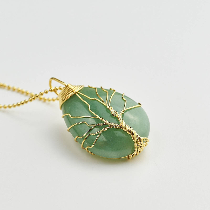 Tree Of Life Symbol Wire Wrapped Green Aventurine Pendant