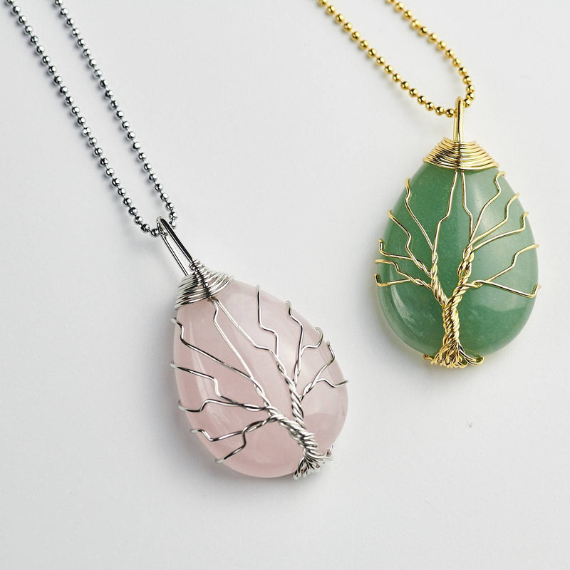 Tree Of Life Symbol Wire Wrapped Rose Quartz and Green Aventurine Pendant