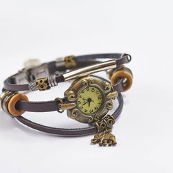 Vintage Leather Watch With Elephant Charm
