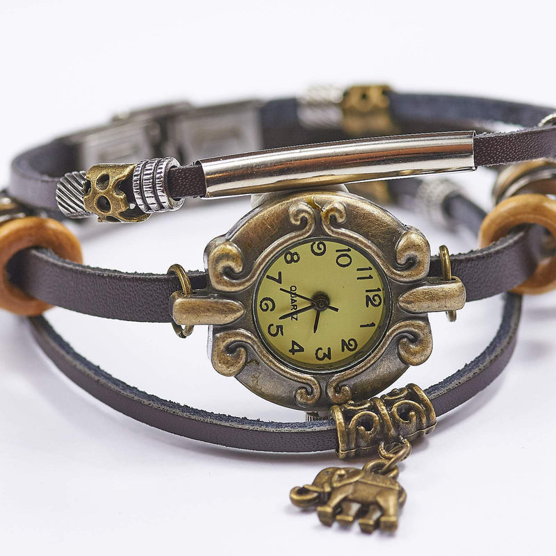 Leather Watch With Elephant Charm