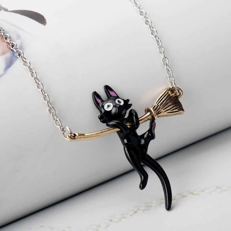 Witch Necklace with Hanging Black Cat Pendant