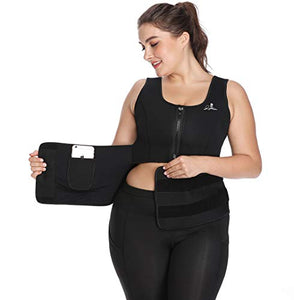 Womens Neoprene Sauna Suit Waist Trainer Vest with Adjustable Shaper Waist Trimmer Belt at SHOPNITIC Women's Clothing store: