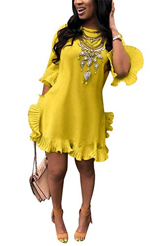 Women Summer Short Sleeve Round Neck Ruffles Hem Loose Midi Mini Dresses Casual Plus Size at shopnitic Clothing store: