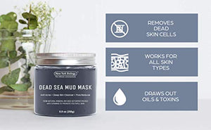 New York Biology Dead Sea Mud Mask for Face and Body - Spa Quality Pore Reducer for Acne, Blackheads and Oily Skin, Natural Skincare for Women, Men - Tightens Skin for A Healthier Complexion - 8.8 oz : Beauty