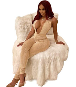 Women Deep V Neck Sequin Rhinestone Jumpsuit Sleeveless Clubwear Party One Piece Romper: Clothing