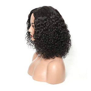 CHOCO BEAUTY : Pre Plucked Curly Human Hair Wigs 13x6 Deep Part Bob Wigs Brazilian Human Hair Lace Front Wigs with Baby Hair for Women 10 Inch Natural Color 130% Density : Beauty