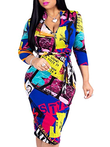 Women's Floral  V-Neck Midi Juniors Dresses Casual Bodycon Club Outfits at shopnitic Clothing store: