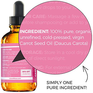 Carrot Seed Oil by Leven Rose Pure Unrefined Cold Pressed Moisturizer for Hair Skin and Nails 1 oz: Beauty