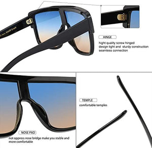 Premium Oversized Sunglasses Women and  Men Flat Top Square Frame Shield Fashion Shades (Bule Brown,