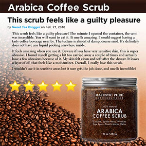 Majestic Pure Arabica Coffee Scrub - All Natural Body Scrub for Skin Care, Stretch Marks, Acne & Cellulite, Reduce the Look of Spider Veins, Eczema, Age Spots & Varicose Veins - 10 Oz : Beauty