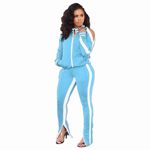 Plus Size Casual Women Tracksuit Two Pieces Set Cardigan Jogging Femme Side White Jackets