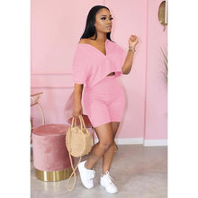 Casual Tracksuit 2 piece set  Crop Top + Pants  Short Sleeve Deep V-neck