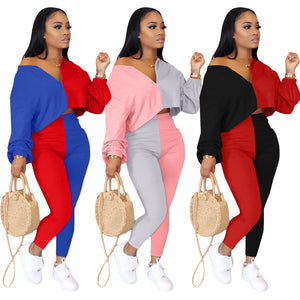 Autumn Women Tracksuit color patchwork two piece set Streetwear full sleeve