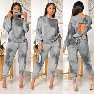 Casual Women Set Backless Hollow Out Crop Top + Long Pants Street Tracksuit Jogging Sportwear